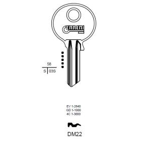 ERREBI DM22 Schlüsselrohling für DOM