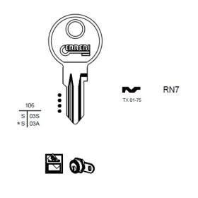 ERREBI RN7 Schlüsselrohling für RENZ