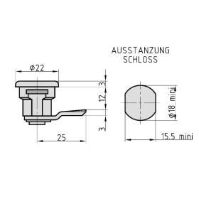BASI HS 309 VS für JU-Briefkästen mit Mutter 2 Schlüssel hellverchromt