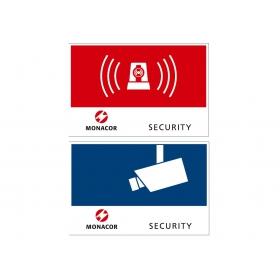 Monacor Aufkleber Alarm oder Security 120x80mm...