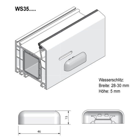 """Grundmeier Wasserschlitzkappe mit Windstopp - Ausführung """"Softline"""""""