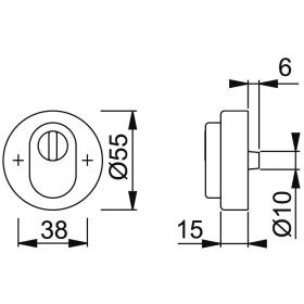HOPPE E42NSB-ZA Edelstahl Schutz-Schlüsselrosette...