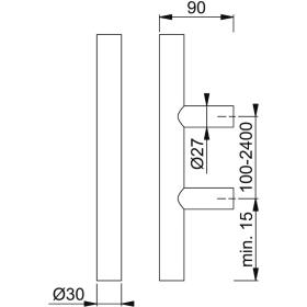 HOPPE E5011 Edelstahl-Bügelgriff Stangenform...