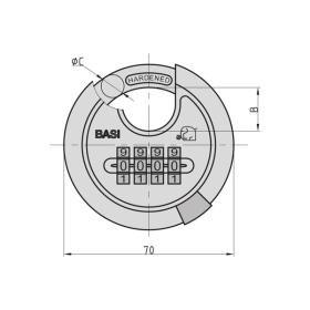 BASI RVS 610Z - 70 mm Rundbügel-Vorhangschloss, Edelstahlgehäuse, 4-stellige Zahlenkombination