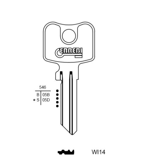ERREBI WI14 Schlüsselrohling für Wilka