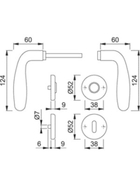 HOPPE Rosetten-Garnitur CARDIFF 3588701 E1850Z/17KV/17KVS F69 8 OB 37-42 9999