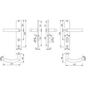 HOPPE Langschild-Garnitur TRONDHEIM E1430Z/302 SST F69 8...
