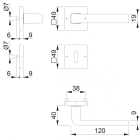 HOPPE Aluminium-Rosetten-Türgriff-Garnitur mit...