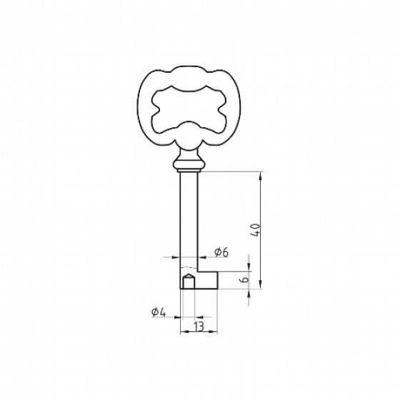 BASI 2915 Möbel-Schlüsselrohling Druckguss