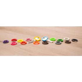 Paulat Kennringe, Kennkappen und Schlüsselanhänger farblich sortiert